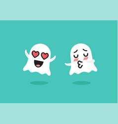 Couple ghosts emoji character vector
