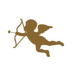 Cute cupid silhouette on white background vector