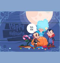 Cute kid wear bat costume with pumpkin happy vector