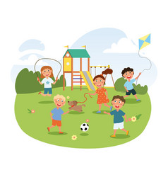 cute little children are playing on playground vector image