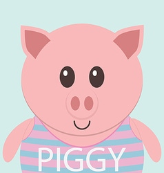 Cute piggy cartoon flat icon avatar vector