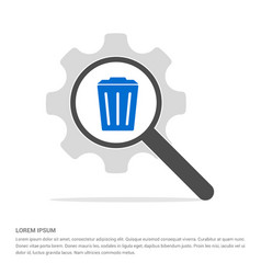 Delete icon with trash bin search glass with gear vector