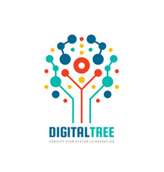 digital tree - logo design computer net vector image