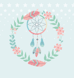 Dream catcher hanging with flowers crown boho vector