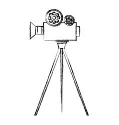 film video camera with tripod vector image vector image
