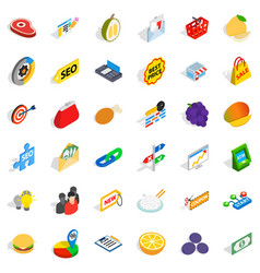 financial trading icons set isometric style vector image