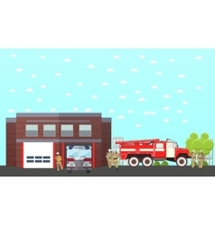Fire fighting department banner Station vector image