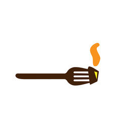 Fork icon abstract in diner style steam and hot vector
