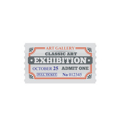 Full ticket to classic art gallery exhibition card vector