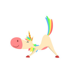 funny unicorn in cow position fantasy beautiful vector image