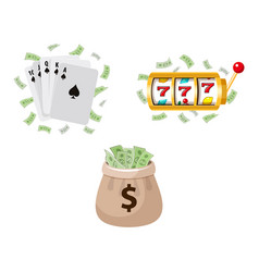 gambling symbols - slot machine cards jackpot vector image