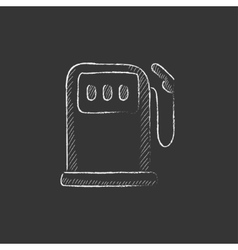 Gas station Drawn in chalk icon vector image