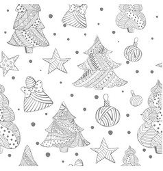 grayscale seamless with christmas fir trees toys vector image