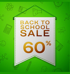 grey pennant back to school sale sixty percent vector image