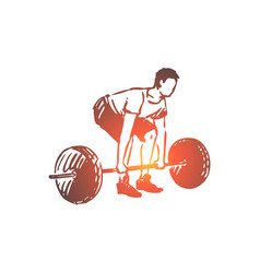 gym barbell fitness man workout concept vector image