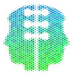 Halftone blue-green dual head interface icon vector