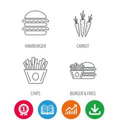 Hamburger carrot and chips icons vector