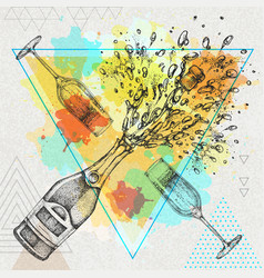 hand drawing champagne bottle and glass vector image