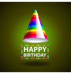 Happy birthday background with party hat vector image
