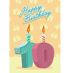 Happy birthday card with 10th birthday vector image vector image