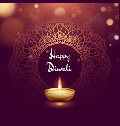 Happy diwali festival burning diya card template vector