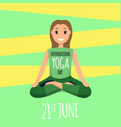 happy woman doing yoga sport training program vector image