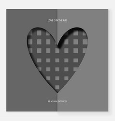 heart of gray paper on valentine s day vector image