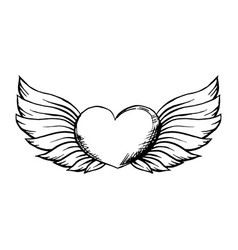 Heart with wings in sketch style hand drawn vector