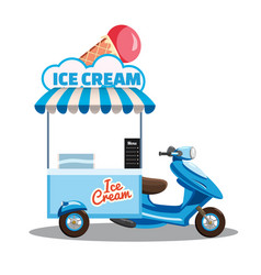 Ice cream street food cart scooter moped truck vector