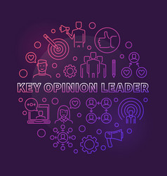 Key opinion leader round colorful outline vector
