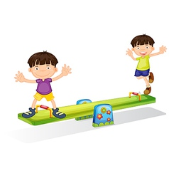 Kids playing with the seesaw vector