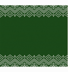 Knitted holiday geometric green ornament design vector