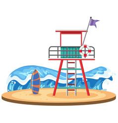 Lifeguard tower on beach vector