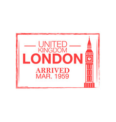 london arrival ink stamp on passport vector image