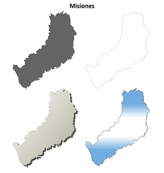 Misiones blank outline map set vector