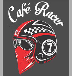 motorcycle rider helmetwith tex cafe racer hand vector image