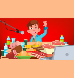 mukbang eating show guy food challenge vector image