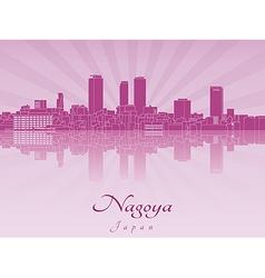 Nagoya skyline in purple radiant orchid vector