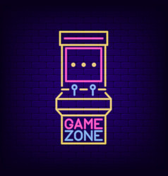 Neon sign of retro slot machine game zone vector