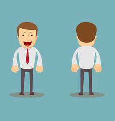 office worker front back view cartoon style vector image