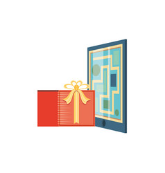 Paper map guide with gift present vector