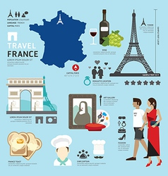 Paris France Flat Icons Design Travel Concept vector image