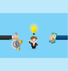Pay money for buy businessman and his idea bulb vector