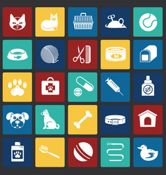 pet icons set on color squares background for vector image