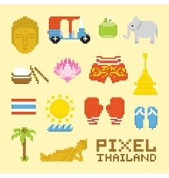 Pixel art isolated Thailand objects vector image