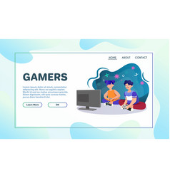 Playing games flat vector
