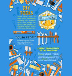 Poster diy repair handyman work tools vector