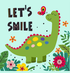 Poster with smiling dinosaur vector