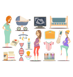 Pregnancy flat icon set vector