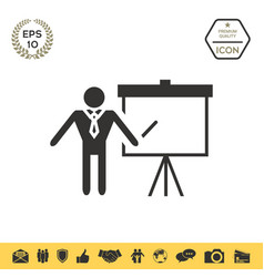Presentation sign icon man standing with pointer vector